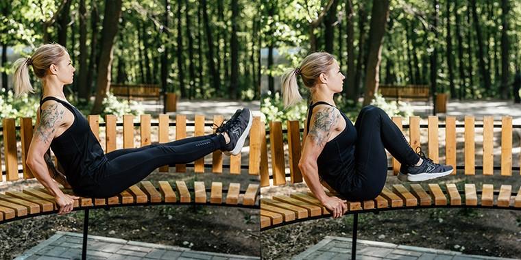 Подтягивания коленей к груди сидя на лавке техника